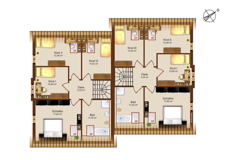 Dachgeschoss Grundriss - Beispiel